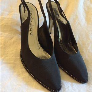 Vintage YSL Black Rhinestone Slingback Heels